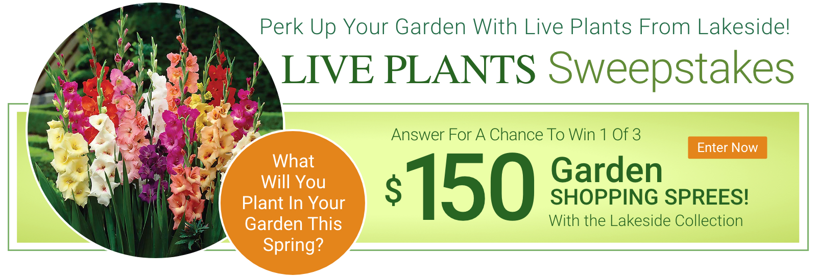 Live Plants Sweepstakes. Answer for a chance to win 1 of 3 $150 Garden Shopping Sprees. Enter Now.