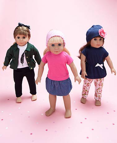 "Set of 3 Casual Outfits for 18"" Dolls"