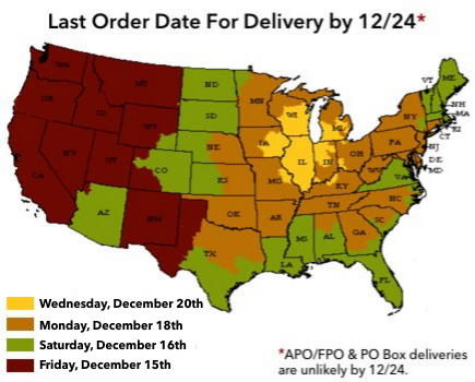 Holiday Delivery Information Map
