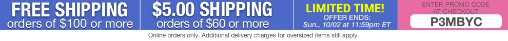 Free Shipping on orders over $100 or $5.00 shipping on orders over $60!