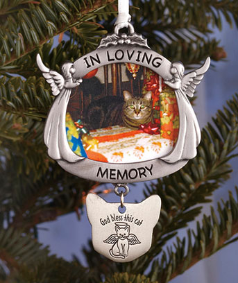 Pewter Cat Memorial Ornament