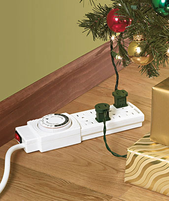8 Outlet Power Strip With Timer Program Your Lights Ideal For Holiday Decor Ebay