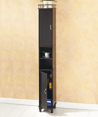 "Black 65"" Slim Storage Cabinet"
