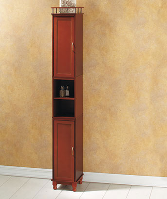 "Walnut 65"" Slim Storage Cabinet"