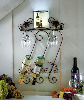 Wine Rack with Lighted Sconce