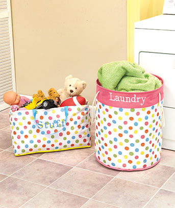 Polka Dot or Striped Storage Bins