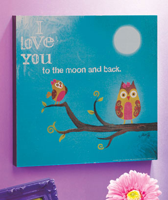 I Love You to the Moon Owl Wall Art
