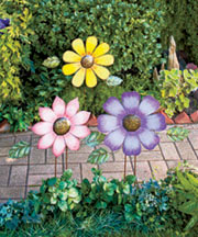 Colorful Flower Garden Stakes