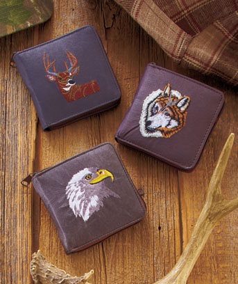 Embroidered Leather Wildlife Wallets
