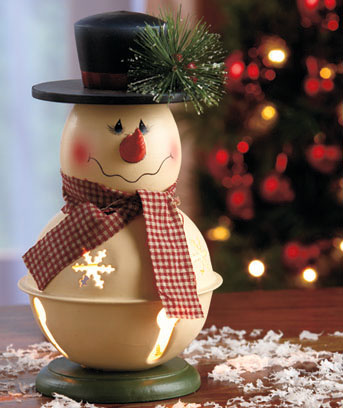 Lighted Bell Snowmen