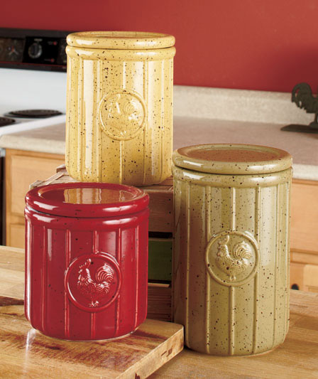 Set of 3 Speckled Rooster Canisters Country Kitchen ...