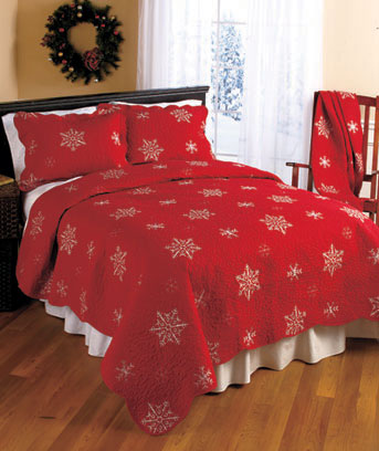Snowflake Embroidered Quilted Bedding