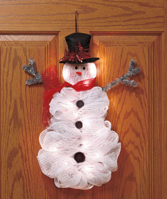 Lighted Geo Mesh Snowman Hanger