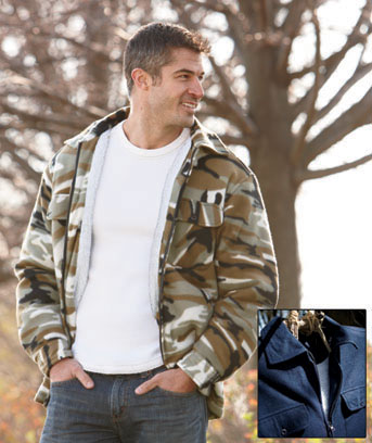 Unique's Shop Men's Sherpa-Lined Fleece Jackets-Navy L 42/44 at Sears.com