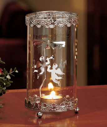 Angel Metal Spinning Snowflake Tea Light Holder