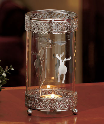 Deer Metal Spinning Snowflake Tea Light Holder