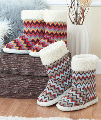 Knit Zigzag Print Boot Slippers