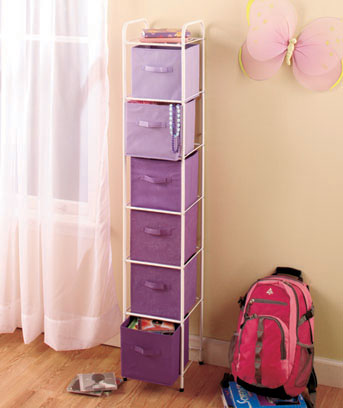 Purple wWhite Frame 6-Bin Canvas Storage Unit