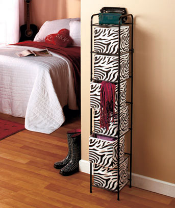 Zebra wBlack Frame 6-Bin Canvas Storage Unit
