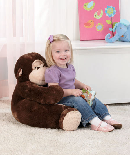 Monkey 18 plush animal chair child toddler kids for tv for Kids tv chair