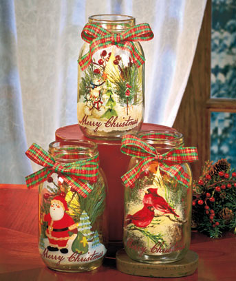 Handpainted Holiday LED Candle Jars