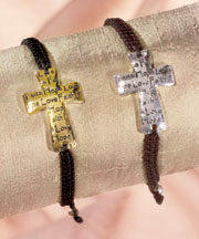 Set of 2 Adjustable Cross Bracelets