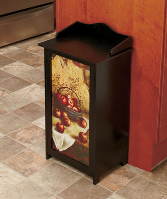 Apple Wooden Trash Bin