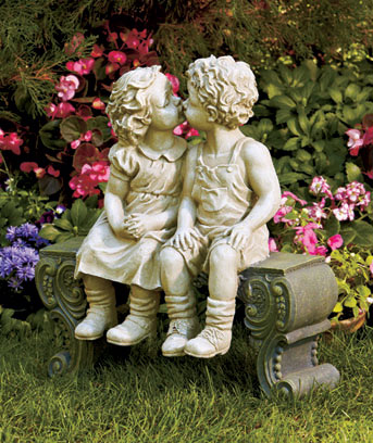 Oversized Boy & Girl on Bench Garden Statue