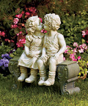 Boy & Girl on Bench Garden Statue