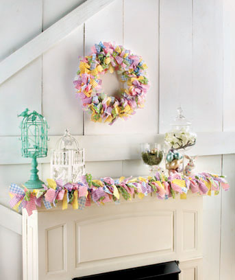 Gingham Rag Wreath & Garland