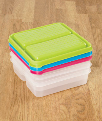 Set of 3 Divided Food Storage Containers