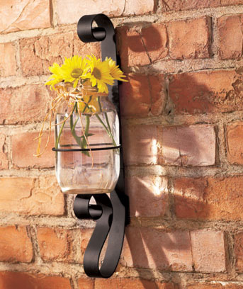 Wrought Iron Canning Jar Sconce