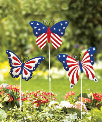 Sets of 3 Patriotic Garden Stakes