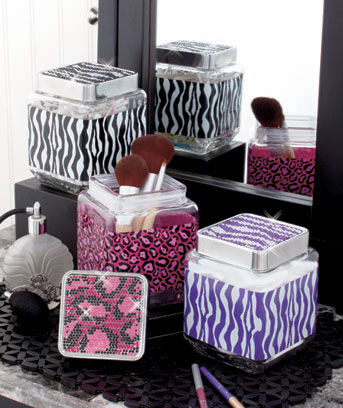 Bling Animal Print Storage Jars