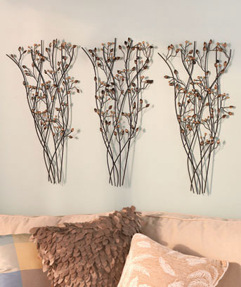 Set of 3 Metal Branch Wall Sculptures