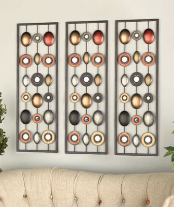 Metal Wall Decor with Mirrors