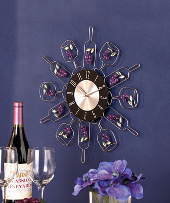 Chic Crystal Wine Bottle Clock