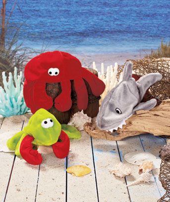 Set of 3 Sea Life Stuffing-Free Dog Toys