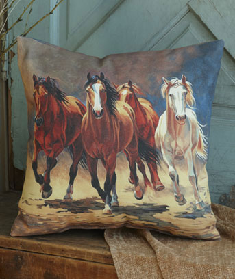 "Horses 16"" IndoorOutdoor Themed Pillow"