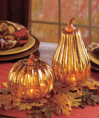 Antiqued Glass Lighted Harvest Decor