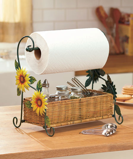 Sunflowers themed paper towel roll holder country kitchen for Kitchen decor collections