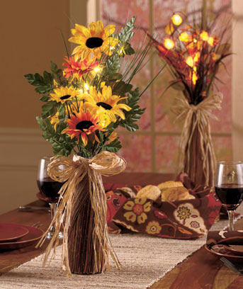 "24"" Lighted Floral Arrangements"
