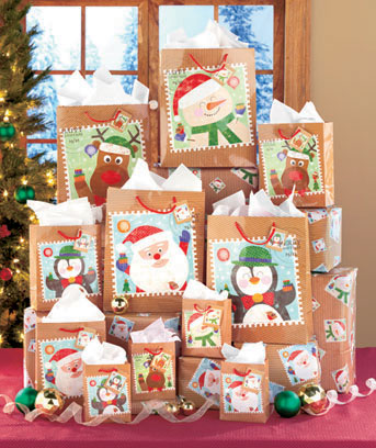 26-Pc. Holiday Stamp Gift Bag Set
