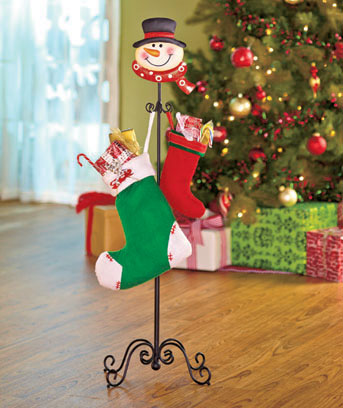 Snowman Standing Holiday Stocking Holder