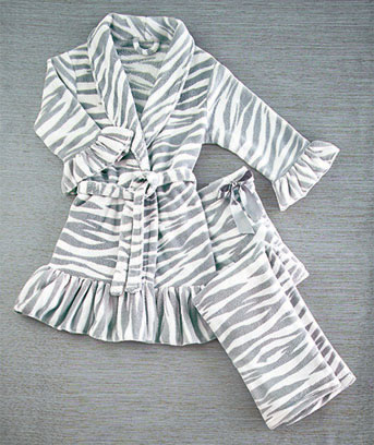 Zebra Plush Ruffle Trim Robe and Pant Set