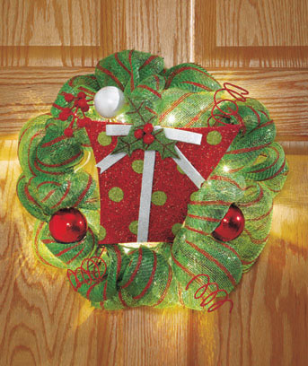 "Christmas Gift 16"" Lighted Geo Mesh Holiday Wreath"