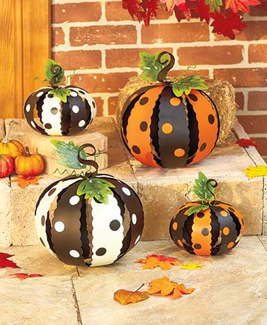 Metal Polka Dot Pumpkins
