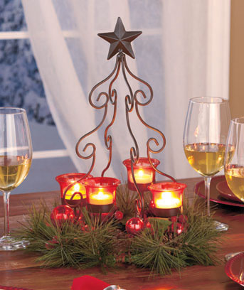 Christmas Tree Votive Centerpieces