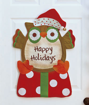 Owl Festive Holiday Door Greeter