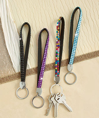 Set of 4 Jeweled Wristlet Key Chains